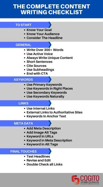 guide to content writing seo checklist