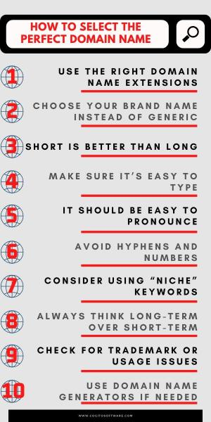 seo for new websites domain name checklist infographic